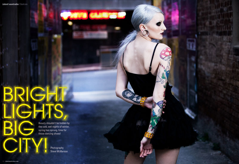 Inked Australia 2013 Issue - Photography Steve McMarson Photography, MUA and Hair Maria Rivera, Model Adelle-Marree, Jewellery Convict Cuffs, Styling Angela M, Photographic Assistants Alex Lausev and Tara VanRooy